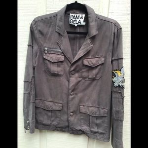 Pam and Gela brown military jacket.